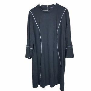 Eloquii Black Houndstooth Trim Bell Sleeve Dress